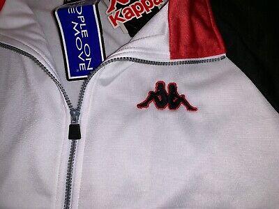 Kappa Men's VTG Jacket Sz XL WHITE BLACK RED Full Zip Logo Aside And Front NWT