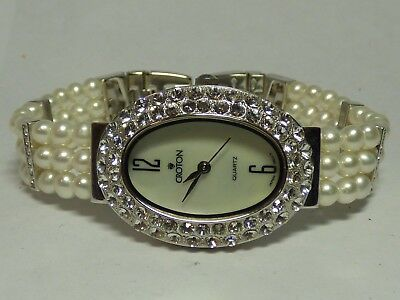 Croton Freshwater Pearl Watch & Bracelet Set Rhodium Plating *WORKS*