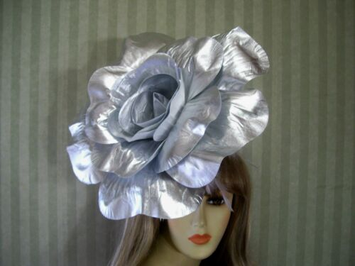 """12"""" Silver Rose Fascinator Derby Wedding Hat  Garden Tea Flower Hat Halloween"""