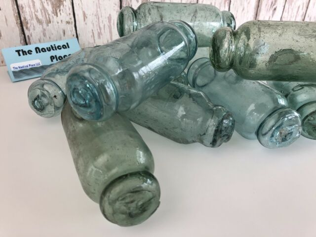Japanese Glass Rolling Pin Fishing Floats - Lot Of 10 - Japan - Old Vintage Used