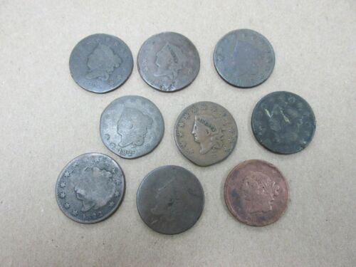 9 Coins Various Dates Cull Large Cents 1816-1839 Q2GW