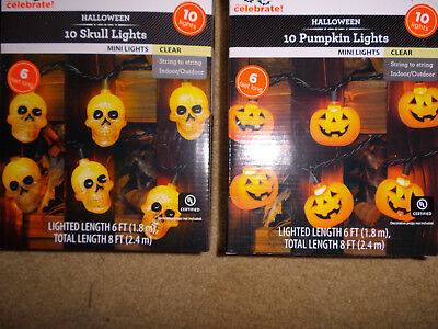 2 sets HALLOWEEN PUMPKIN & SKULL 10 LIGHTS STRING W/ COVERS SKELETON blow mold - Halloween 2 Pumpkin Skull