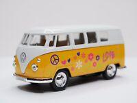 VW Volkswagen T1 Blau Weiss mit Hippie Flower Power Design Samba Bully Bus 1950