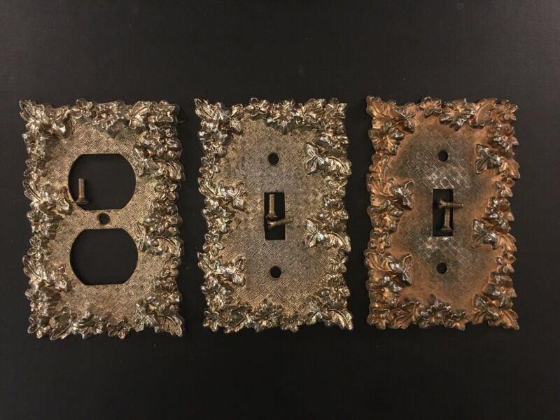 Mid Century Vintage Brass Electrical Switch Plates