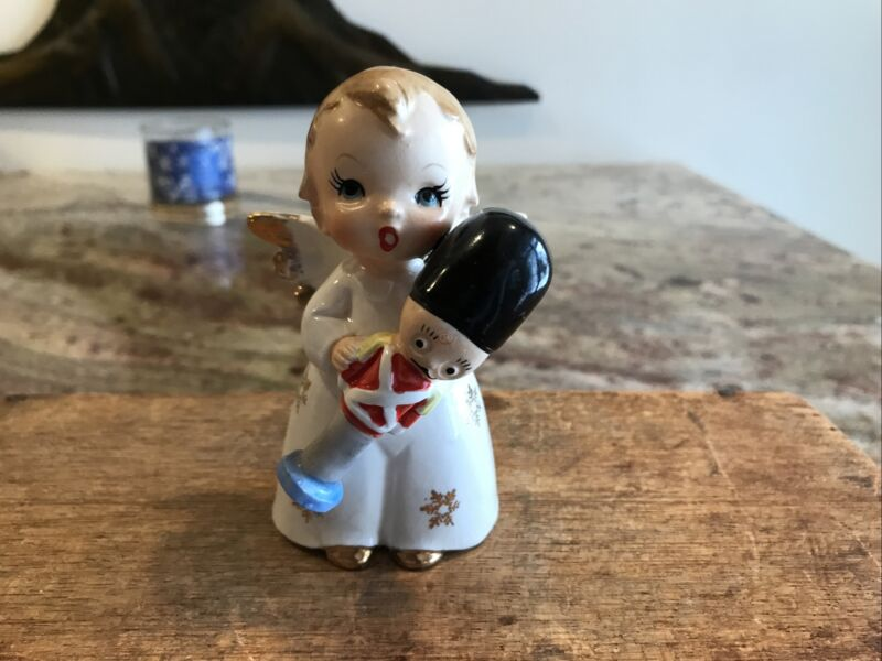 Vtg RARE NIKONIKO Ceramic Christmas Angel Holding a Toy Soldier Figurine Repair