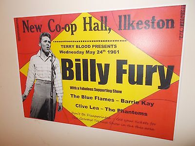A3 SIZE BILLY FURY POSTER, Co-op HALL, ILKESTON, MAY 1961