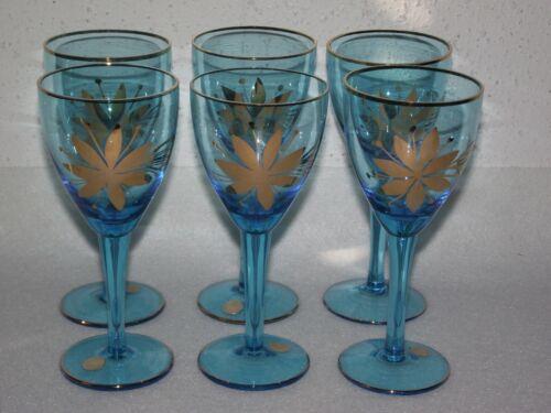 Vintage 6pc aqua blue crystal glass gold gild floral wine glasses Romania