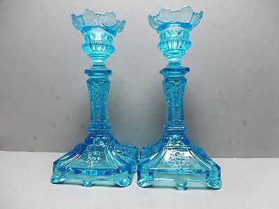 Paar Kerzenleuchter blau Pressglas Jugendstil 20 cm/R16