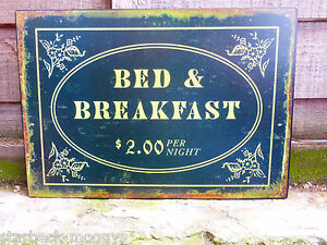 VINTAGE SIGN BED AND BREAKFAST $2 SHABBY CHIC PLAQUE GREAT WALL DECOR