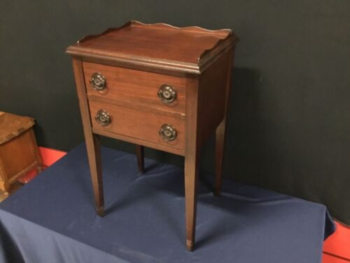 1940's 2-Drawer Mahogany Nightstand- Scalloped Edges