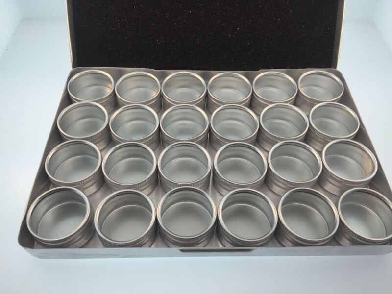 24 pc. bins in a metal box for Clock and Watch Parts