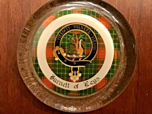 Scottish Clan Glass Paperweight Burnett Of Leys with Tartan and Crest