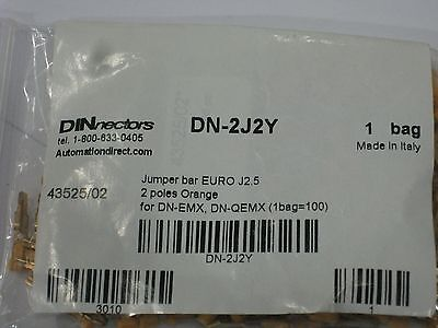New Dn-2j2y Automation Direct Terminal Block Jumpers Bar Sealed Bag Of 100 New