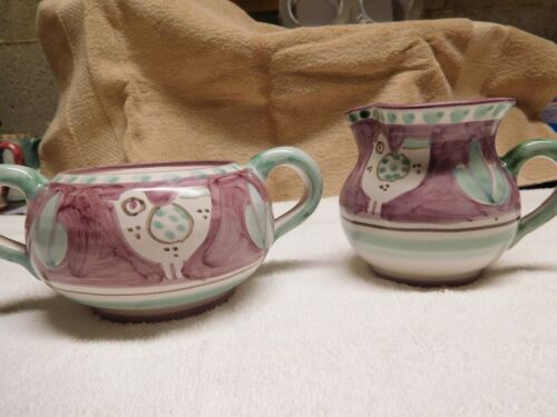 VIETRI CREAM AND SUGAR SET MISSING LID BUT IN GREAT CONDITION!