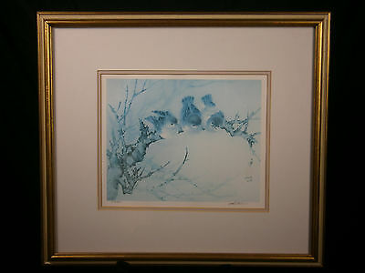 LENA LIU SIGNED ART PRINT LE BLUE WATERCOLOR BLUEBIRDS CHICKADEES TREE FRAMED