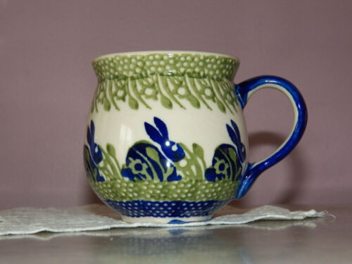 Polish Pottery 16 oz Large Bubble Mug! Bunny Pattern!