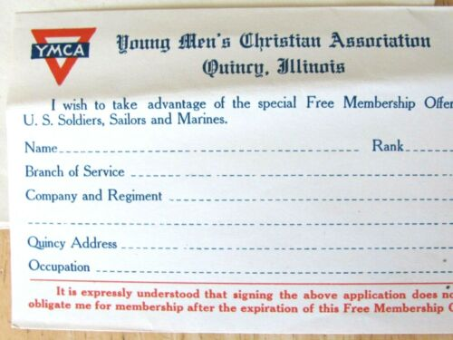 1919 WW 1 US SOLDIER RETURNING OFFER FREE MEMBERSHIP YMCA QUINCY ILL