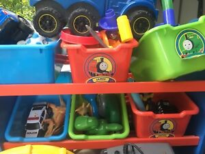 Thomas train shelving storage with toys