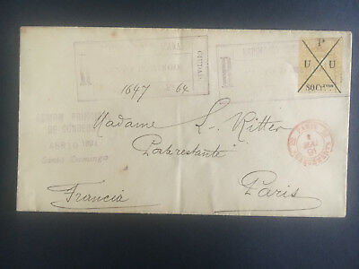 1891 Santo Domingo Dominican Republic Registered Cover to Paris France 80 cents