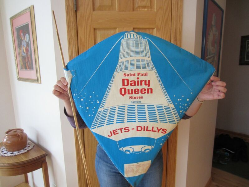 Vtg Paper Kite Dairy Queen Advertising with Space Capsule St. Paul Plastikite