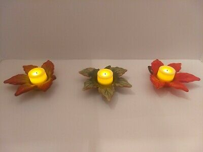 Yankee Candle Ceramic Maple Leaf Fall Tea Light Holders lot of 3