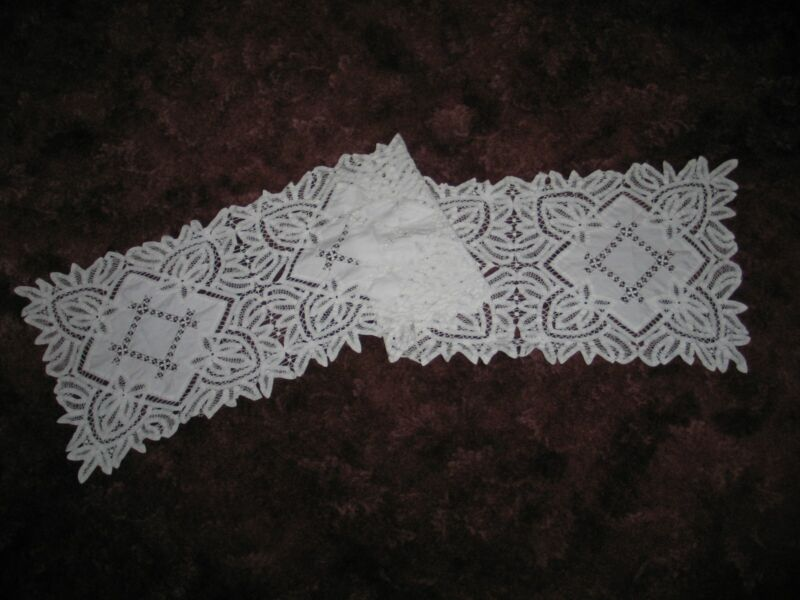 "Antique Victorian Table Runner Battenburg Lace Hand Embroidery 69.5"" x 15.5"""