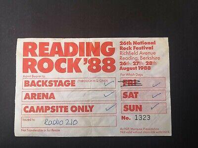 Vintage READING ROCK 1988 Backstage/Arena/Campsite Pass ft Iggy Pop/Squeeze segunda mano  Embacar hacia Mexico