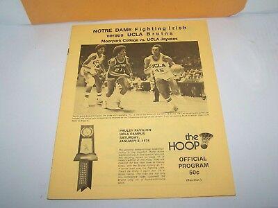 1976 NOTRE DAME vs UCLA COLLEGE BASKETBALL PROGRAM JAN. 3 FIGHTING IRISH BRUINS