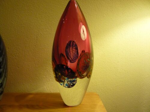 Louis Thompson - Peter Layton Interest Anemone Glass Ovoid Vase Signed