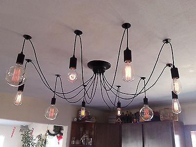 Edison 10 Wire Chandelier - Adjustable Pendant hanging -