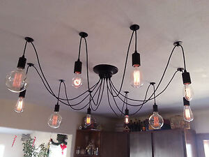 Edison-10-Wire-Chandelier-Retro-Chic-Adjustable-New-Model-Wall-Dimmer-US-SHIP