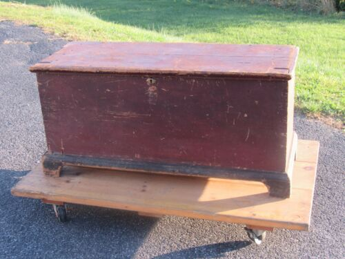 small lancaster county antique c 1790 blanket chest old red paint 7& mustard str