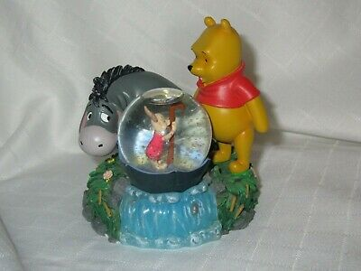 Disney Winnie the Pooh Eeyore Piglet Snow Globe Disney Theme Park RARE AUTHENTIC