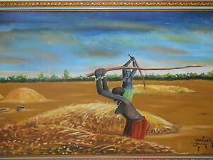Painting-Original-Oil-on-Canvas-Colorful-African-Subject-Farm-Scene-1950-signed