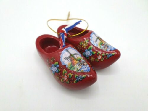 Mini Red Wooden Shoes Christmas Ornament Holland Dutch Windmills Flowers