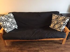 Solid Wood Futon with IKEA Poang Chair