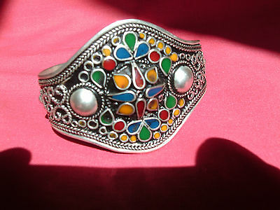 Moroccan Berber Jewelry: Handmade Lrg Multi-Coloured Silver & Black Bracelet