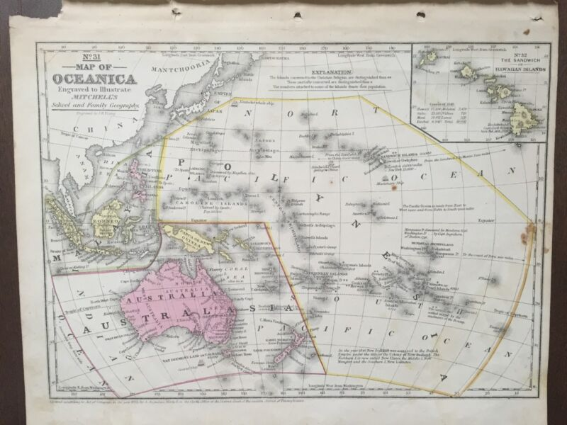 """Hand-Colored Map of Oceanica-Pacific Ocean (1855)-""""Mitchell"""