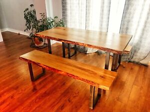 Live Edge Dining Table and Benches (sits 6)