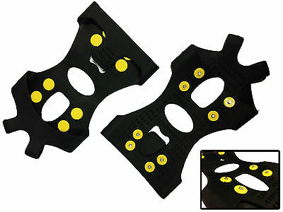 STUDDED SNOW AND ICE SHOE GRIPS - BOOT GRAMPON GRIPPERS - MEDIUM SIZE
