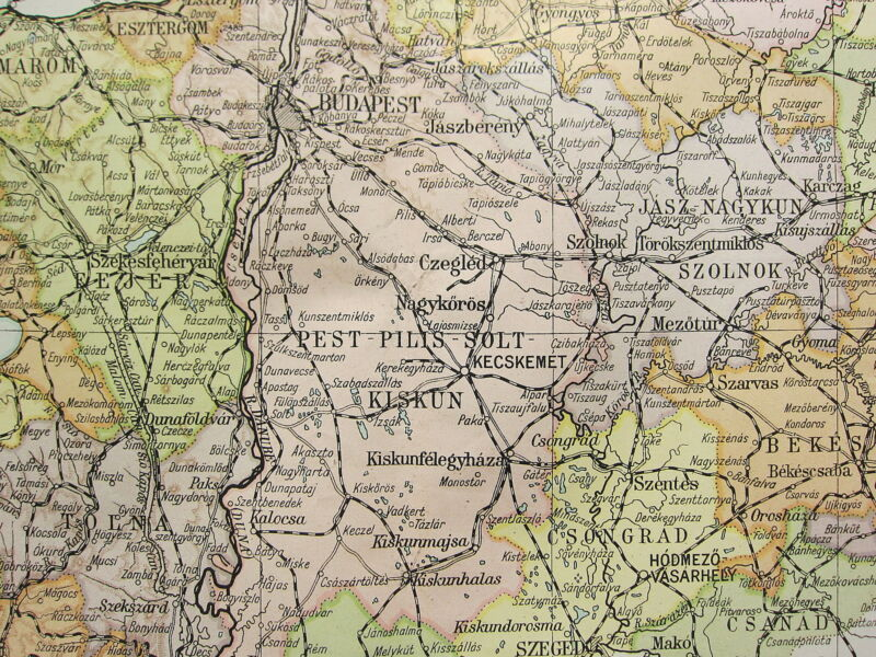 1919 LARGE MAP ~ HUNGARY NOGRAD HEVES BORSOD BUDAPEST ~ INSET BEFORE THE WAR