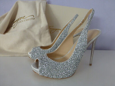 Imagine Vince Camuto Pavi Silver Slingback Peep Toe Glitter Pumps Size 8.5 New  ()
