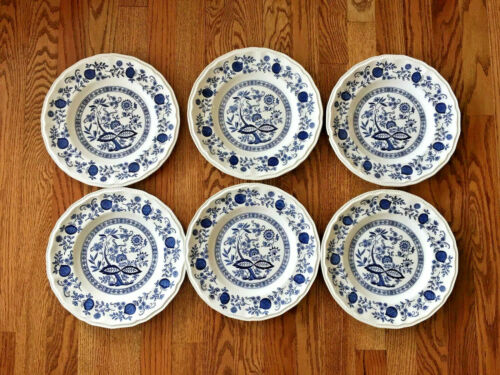 "Lot 6 Kensington Coventry Ironstone England Blue Onion Dinner Plate 10"" Vintage"