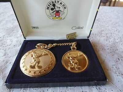 MICKEY & CO COLIBTI MICKEY MOUSE GOLD TONE POCKET WATCH W/FOB SWISS NEW IN BOX