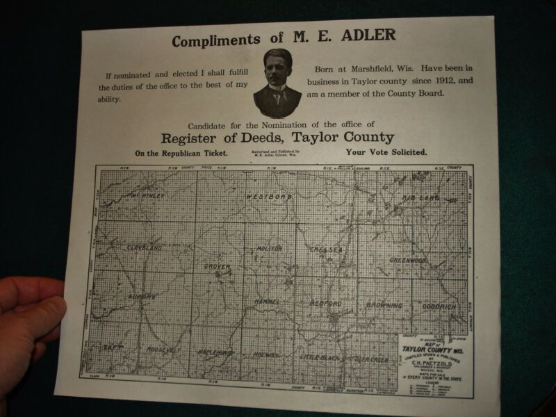 antique Taylor County WI Republican Poster MAP