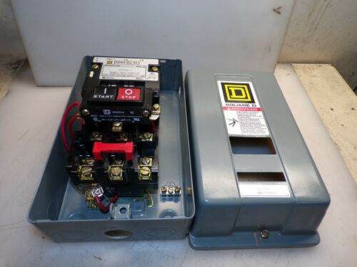SQUARE D SIZE 00 ENCLOSED MOTOR STARTER COIL 120 VAC 2 HP WITH START/STOP