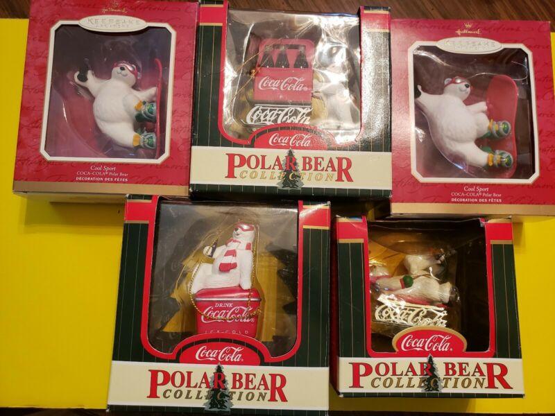 Lot of 5 Coca Cola Bear Christmas Ornaments