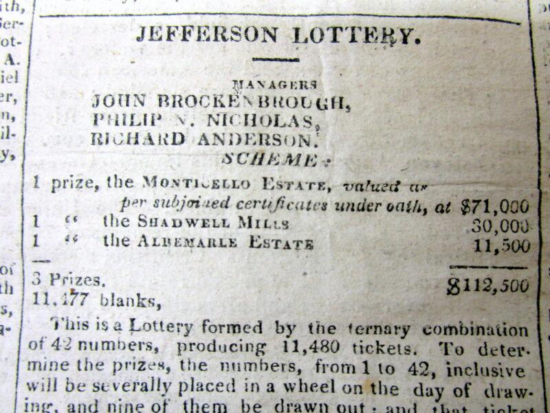 1826 Washington DC newspaper w ad for SALE of Thomas Jefferson MONTICELLO estate