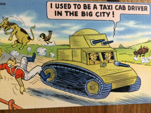 WWII Postcard Tichnor Bros I Used to Be a Taxi Cab Driver in the Big City Comic