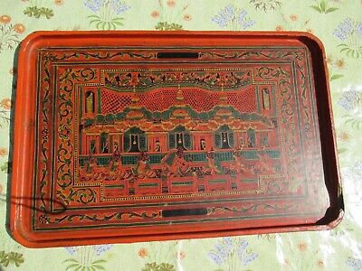 Oriental Decorative Painted Lacquered Tray - Some Damage
